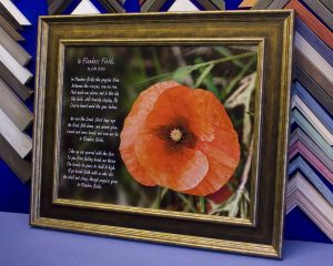 Poppy and poem image in frame